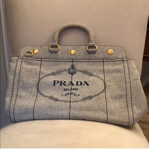 Authentic Prada Logo Oversized Canvas Grey Tote